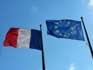 French and European flags